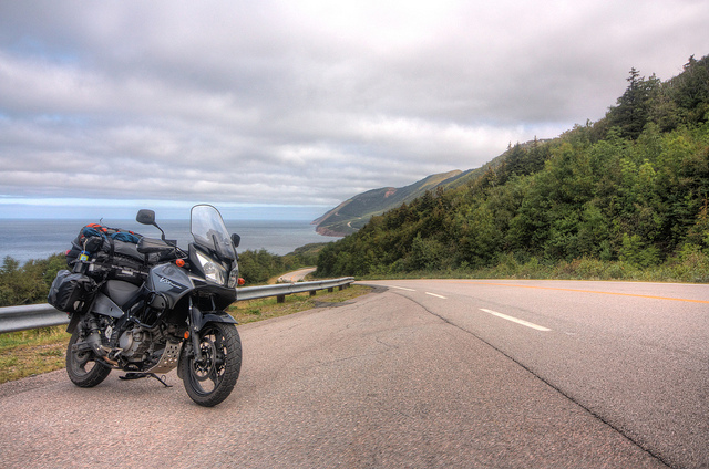 The famous Cabot Trail around the northern end of Cape Breton Island in the Canadian maritime provinces.