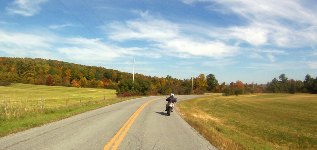 An early-autumn afternoon of motorcycling in Vermont.