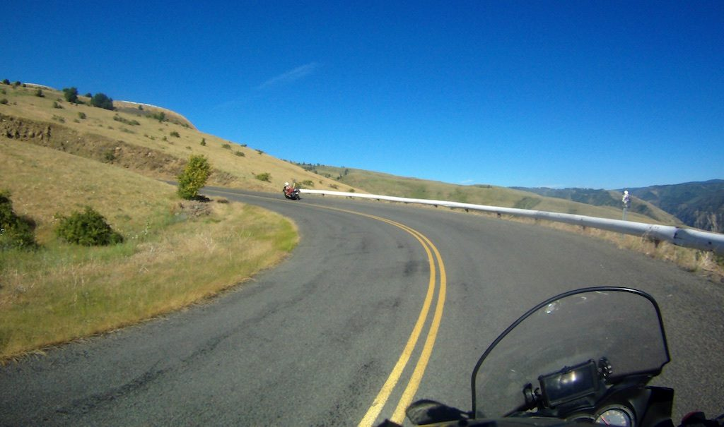 The Gauge Road (Old Highway 95) winds up a hillside with a stack of hair-pin turns between White Bird and Grangeville Idaho.