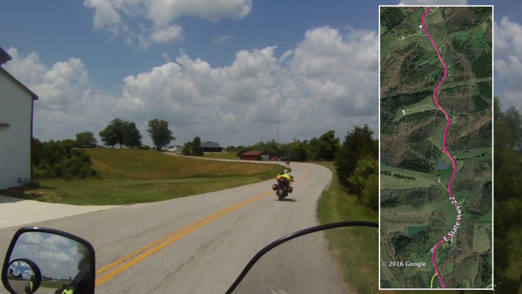 Kentucky's fabulous Highway 22 winds for miles and miles along the tops of the rolling hills with nary a straight-away. Turn after linked-turn follows on, seemingly forever.