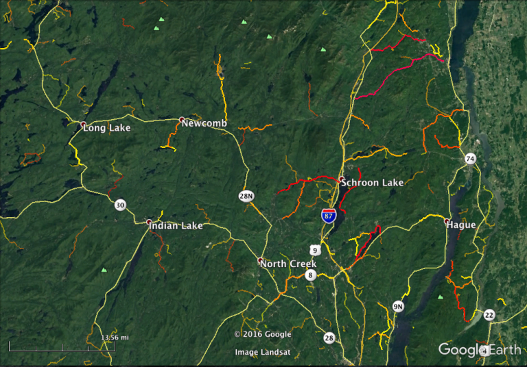 The eastern part of the Adirondack Mountains of New York is a beautiful area, but many of the main routes are pretty straight. The real gems are the twisty little county roads, many of which are paved.